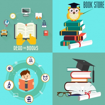 book knowledge banners squares isolation various colored symbols