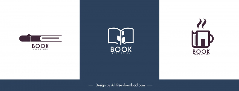 book logo templates flat classic handdrawn sketch