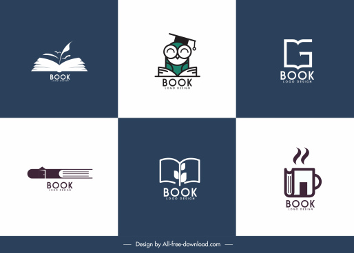 book logo templates simple flat sketch