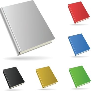 book icons collection colored 3d design