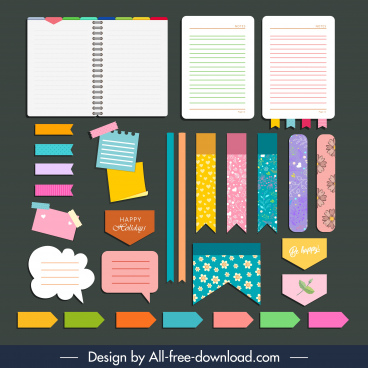 bookmark label elements colorful flat shapes