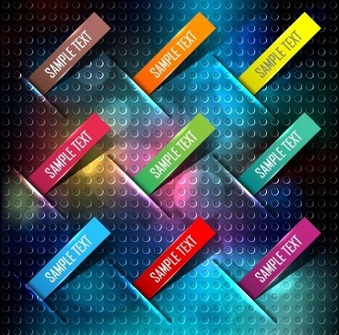 bookmarks and metal background vector set