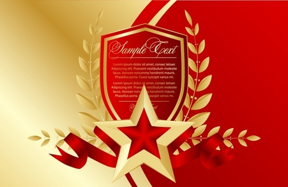 anniversary poster golden red elegant star wreath shield