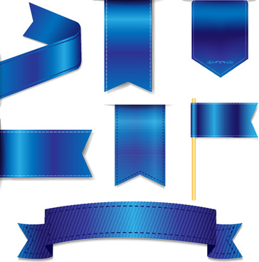 bookmarks with ribbon blue vector