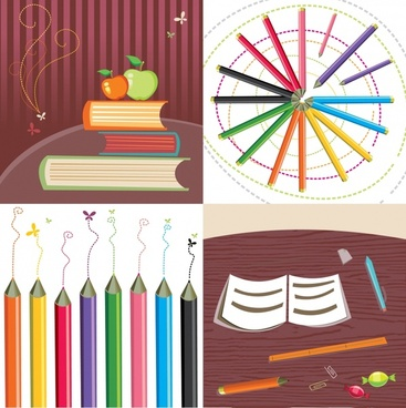 education background templates books pencils icons decor