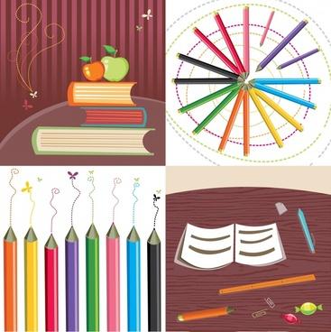 education background templates books pencils icons decor