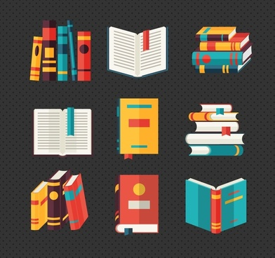 books decoration vector sets design with various styles