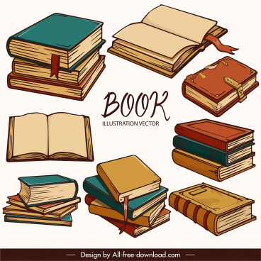 books icons classical 3d handdrawn sketch