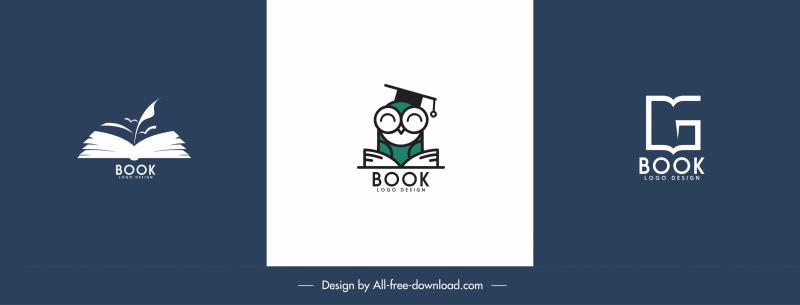 books logo templates classic flat shapes sketch