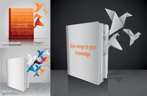 books out of paper cranes fly vector
