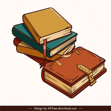 books stack icon retro design 3d sketch