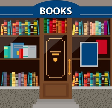 books store facade design with books display illustration