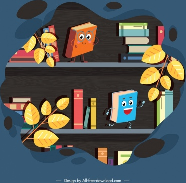 bookshelf background cute stylized books icons
