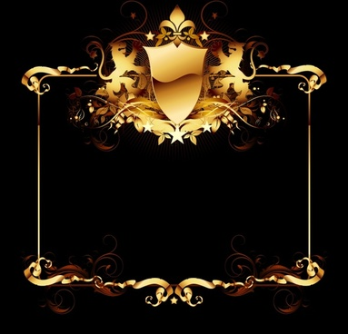 frame template shiny golden seamless decor