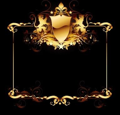 frame template shiny golden seamless decor