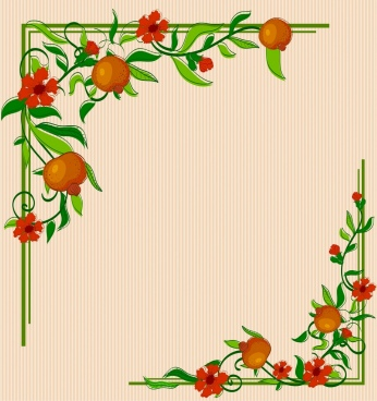 border corner template multicolored flowers fruits decoration