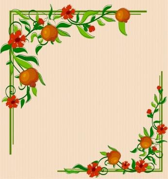 border corner template multicolored flowers fruits decoration