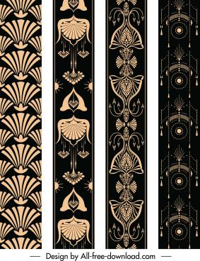 border decorative elements dark ethnic retro symmetric repeating