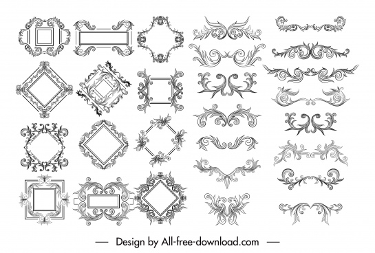 border decorative elements templates elegant symmetrical seamles sketch