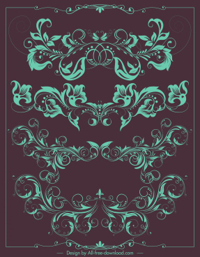 border decorative elements vintage symmetrical curved floral shapes