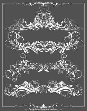 border decorative templates elegant seamless symmetrical curves decor