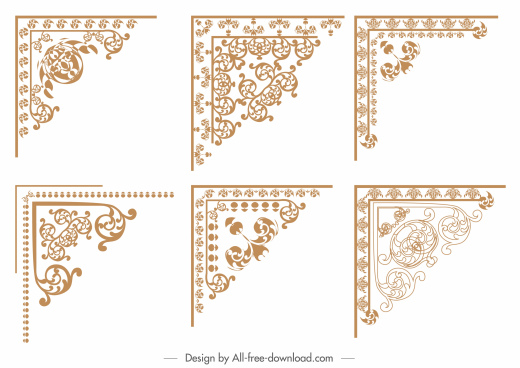 border decorative templates symmetric retro flora sketch