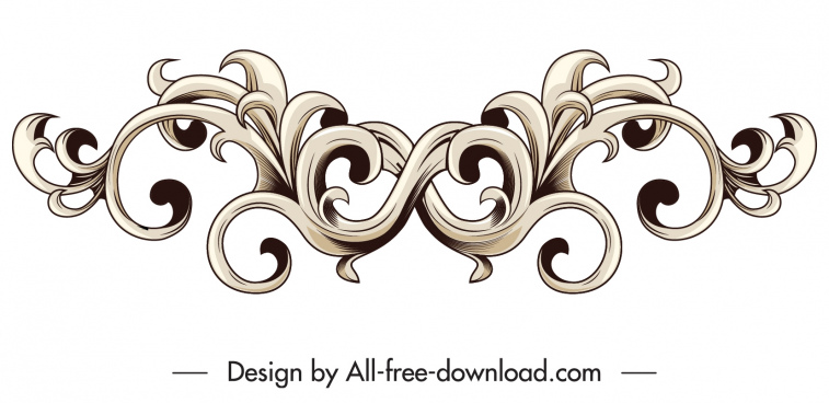 border design element classical symmetrical seamless curves decor