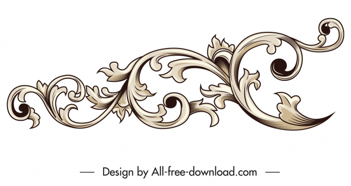 border design element elegant classical seamless curves