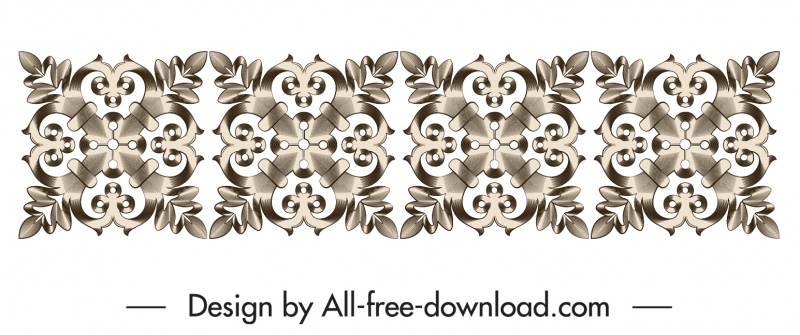 border design element elegant seamless repeating floral decor