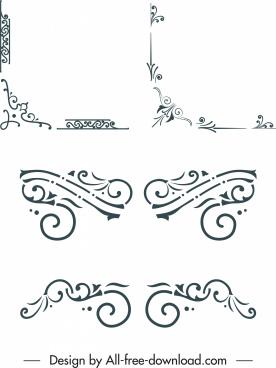 border design elements elegant classical symmetric shapes
