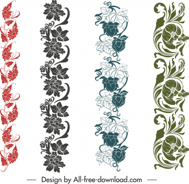border design elements seamless elegant flowers decor