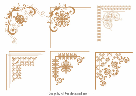 border elements templates elegant classical symmetric flat decor