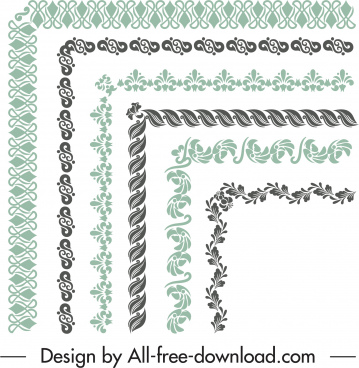 border elements templates retro elegant seamless shapes