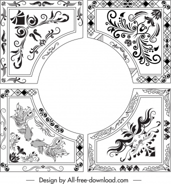 border template elegant oriental symmetric decor circl design