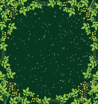 border template green leaves decoration sparkling space backdrop