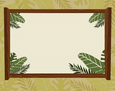 border template natural leaves decoration