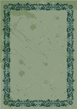 border template retro design dark green classical pattern