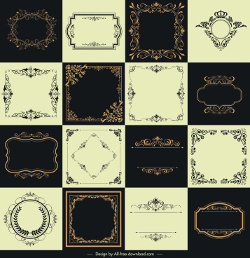 border templates collection retro elegant symmetric decor
