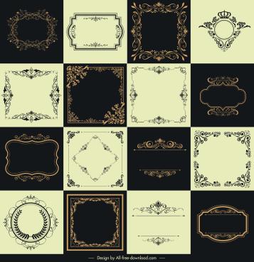 border templates collection retro elegant symmetric decor