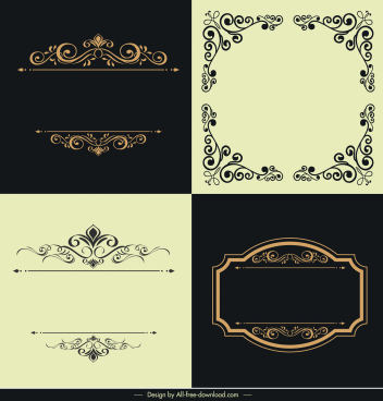 border templates elegant retro curves symmetrical design