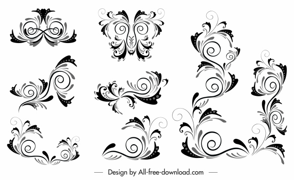 borders decor elements classic swirled shapes