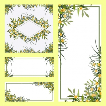 borders templates sets flowers decoration