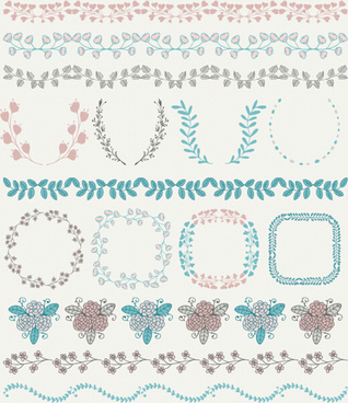 borders with frame and laurel wreath cute vector