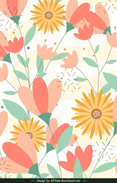 botanical background colorful bright flat handdrawn sketch