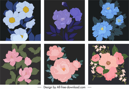 botanical background templates dark elegant classical handdrawn design