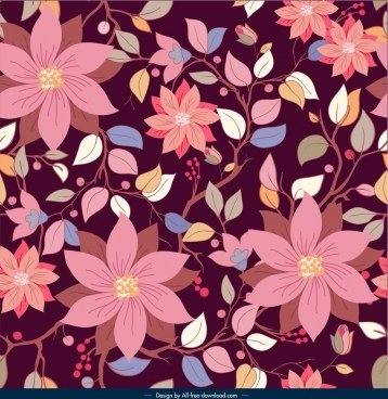 botanical pattern template colorful dark classical blossom decor
