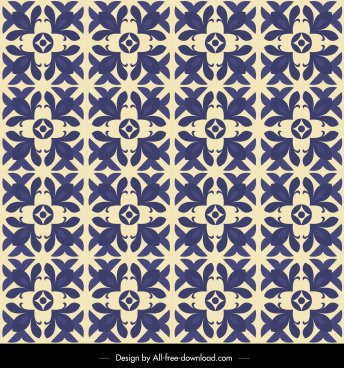 botanical pattern template flat repeating retro blue design
