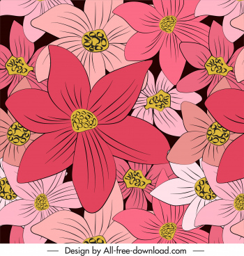 botany background colored flat classic handdrawn design