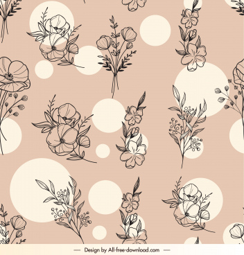 botany pattern template classical handdrawn design