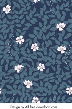 botany pattern template dark classical handdrawn sketch